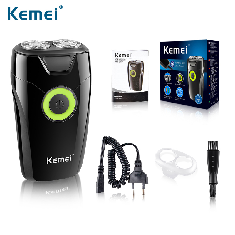 Kemei202A Double Rotary Cutter Head Rechargeable Electric Shaver Sharp Automatic Grinding Shaver Razor Men's Face Care philips electric shaver head hq8 double head packaging accessories for hq57 60