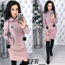 Autumn Winter New Colored cotton Women Dress Hairball Long Sleeve Straight Pockets Hooded Dresses Plus Size Warm Mini Vestidos(China)