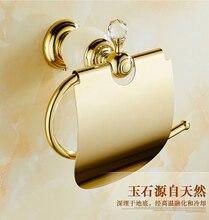 Высокое качество класса люкс кристалл украшения бумагодержатель золото латунь держатель туалетной бумаги водонепроницаемый держатель ткани коробка