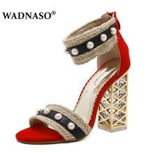 WADNASO Women Gladiator Sandals Cross-tied Ankle Strap Rome Shoes Crystal Transparent Block Square Thick High Heel Pumps 35-39