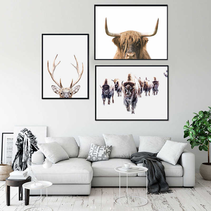 Safari Nurserywall Art Deer Buffalo Owl Canvas Painting Pink Animal Posters And Prints Pictures For Living Room Bedroom Decor Painting Calligraphy Aliexpress