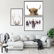 Safari nurserywall art олень Буффало Сова Холст Живопись розовые