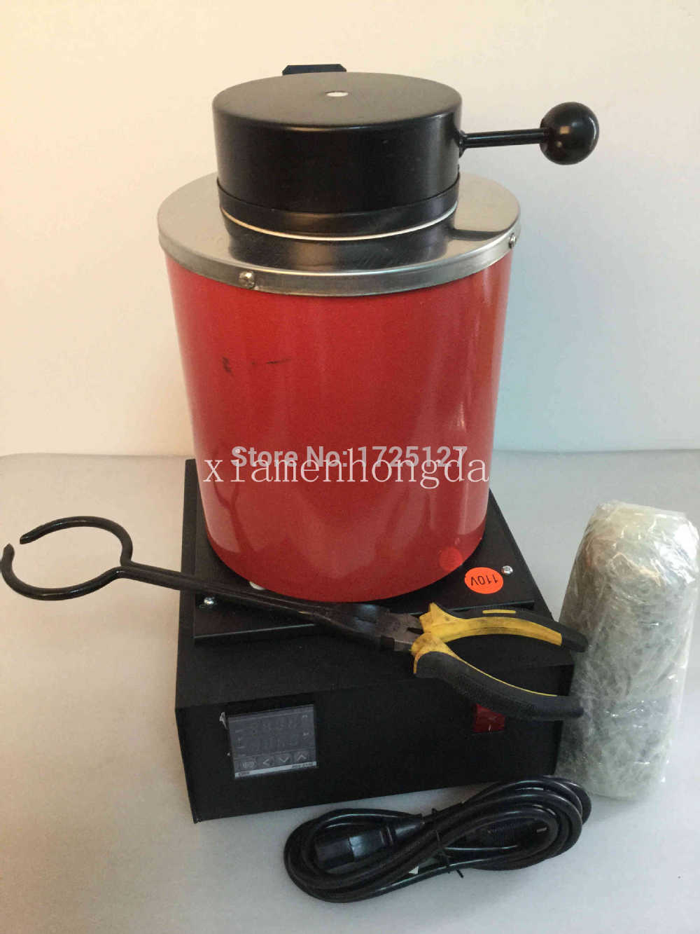 FREE SHIPPING AUTOMATIC ELECTRIC MELTING FURNACE SILVER & GOLD POUR BAR +2KG CRUCIBLE+ TONG - DIGITAL CONTROLER 110V &220V free shipping jewelry making tools 110v 2kg mini gold melting furnace electric melting furnace with tong crucible goldsmith