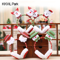 Fashion Earmuffs Kids Christmas Santa Claus Pattern Cartoon Party Xmas Hairstick Hairbands Funny Festival Style