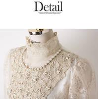 кружево с кружка не стоит Elegant женщин основные рубашка с длинным рукавом тонкий ручной работы пиво блузка мода aac042