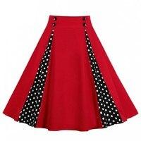 cdef99c2104d5f 2019 Vintage Women Retro Red Rose Bouquet Dot Print High Waist Midi Skirts  Knee Length Long. Bekijk Aanbieding. Tonval Hoge Taille Bloemen Geplooide  Rokken ...