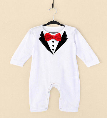 Newborn Baby Boys Infant Outfits Jumpsuit Romper Fashion Gentleman Formal 2017 SS