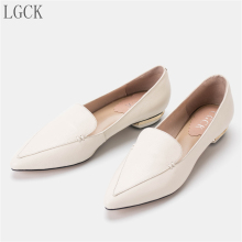 Plus Size 34-43 Genuine Leather Women Shoes Elegant Pointed Toe Flat Flats Fashion Slip on Ladies lady ballet Office Low Heel elegant comfortable women flat shoes sandals 2017 summer genuine leather pointed toe pearls office solid flats big size 41 42 43