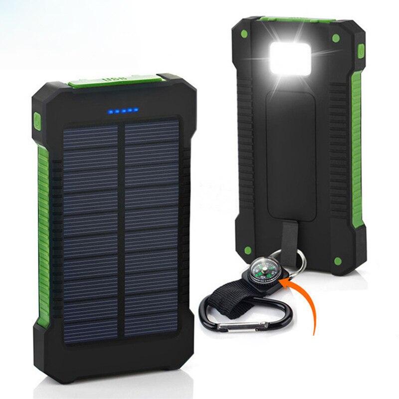 Portátil de Energia Solar Banco 20000 mah Carregador de Bateria Externa de Backup Powerbank 20000 mah Da Bateria Do Telefone À Prova D' Água LED Pover Banco