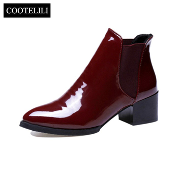 COOTELILI Comfortable 5cm High Heels Ankle Boots For Women Pointed Toe Warm Autumn Winter Shoes Women Pumps Red Black 35-39