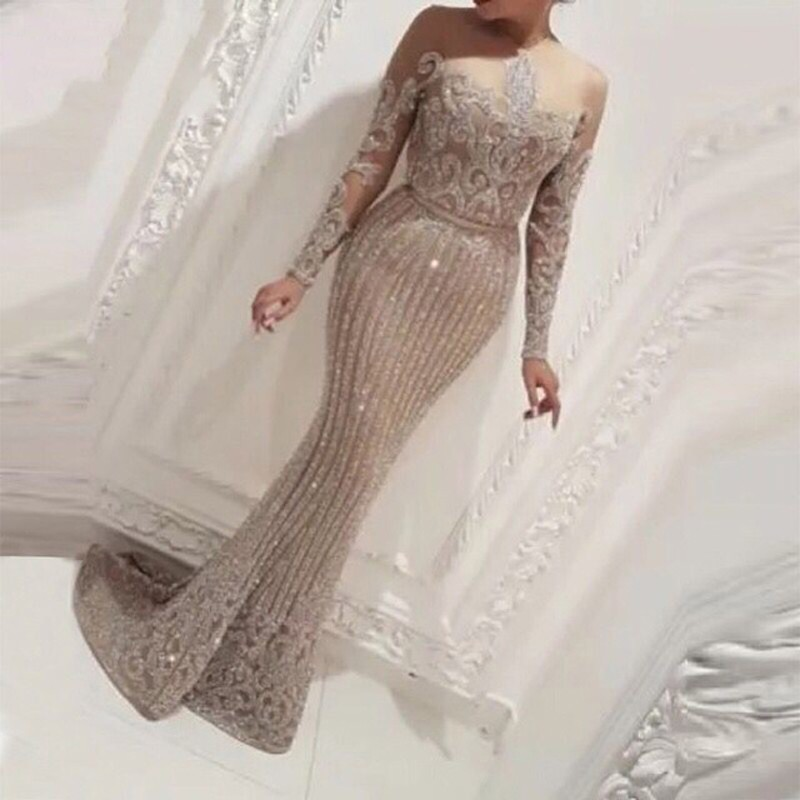 Luxury Muslim Turkish Long Sleeve Sequin Mermaid   Evening     Dresses   2019 O Neck Vintage Saudi Arabic Dubai   Evening   Gowns For Women
