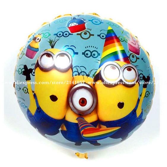 30pcs/lot Hot Sale  18 inch round Despicable Me Minions balloon birthday party Foil helium balloon yellow man cartoon air globos