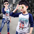 Promotion boys T-shirts for 3-8 yearls old children's clothing spring 2016 new cartoon T-shirt inclined shoulder sleeve A434