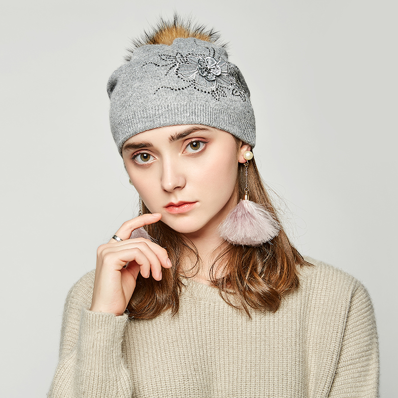 b9b51b34a08 ... Andybeatty Fashion Autumn Knitted Hat Female Embroidered Rhinestones Winter  Hats Women Cashmere Gravity Falls Cap Girl  Pump Queen Wool ...