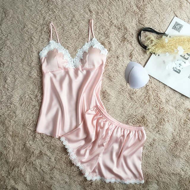 a65336d352 Fiklyc brand pajamas sets for women fashion lace satin pijama summer  nightwear sexy lingerie pajamas pyjamas