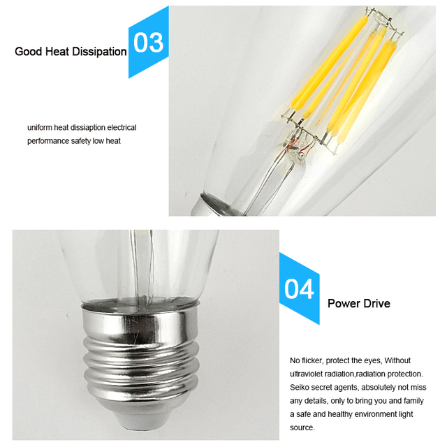 Dimmable Retro LED Filament Light Lamp E27 4W 6W 8W 220V G45 A60 Clear Glass Shell Vintage Edison Led Bulb