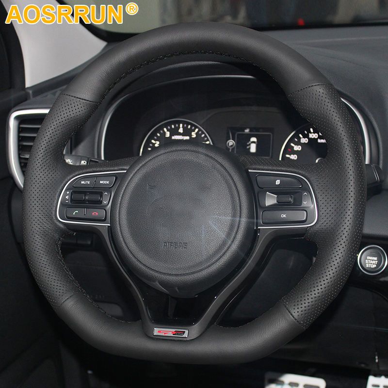 AOSRRUN Black Leather Hand-stitched <font><b>Car</b></font> Steering <font><b>Wheel</b></font> Cover For <font><b>Kia</b></font> Optima 2016 2017 <font><b>Sportage</b></font> 2018 image