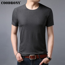 COODRONY T Shirt Men Short Sleeve T-Shirt 2019 Summer Silky Solid Color Casual O-Neck Tee homme Mens T-Shirts S95037