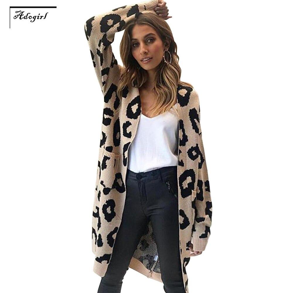 Adogirl Femmes Tricoté Imprimer Manches Longues Cardigan Chandail Manteau Avec Poches Léopard Lâche Grande Taille Automne Veste Manteau Manteaux Top