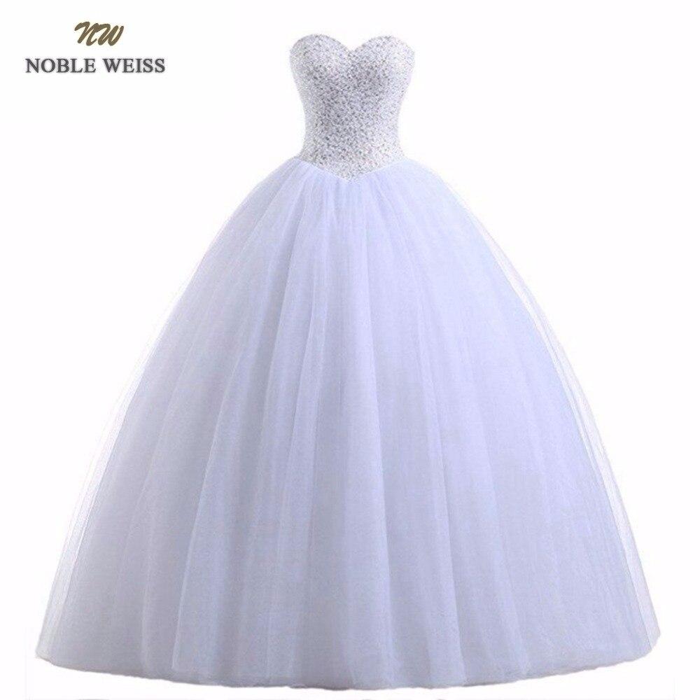 Благородный белое вечернее платье De Свадебный шарик платье белый/Свадебные платья цвета слоновой кости принцессы роскошные бусы Vestido De Noiva ...