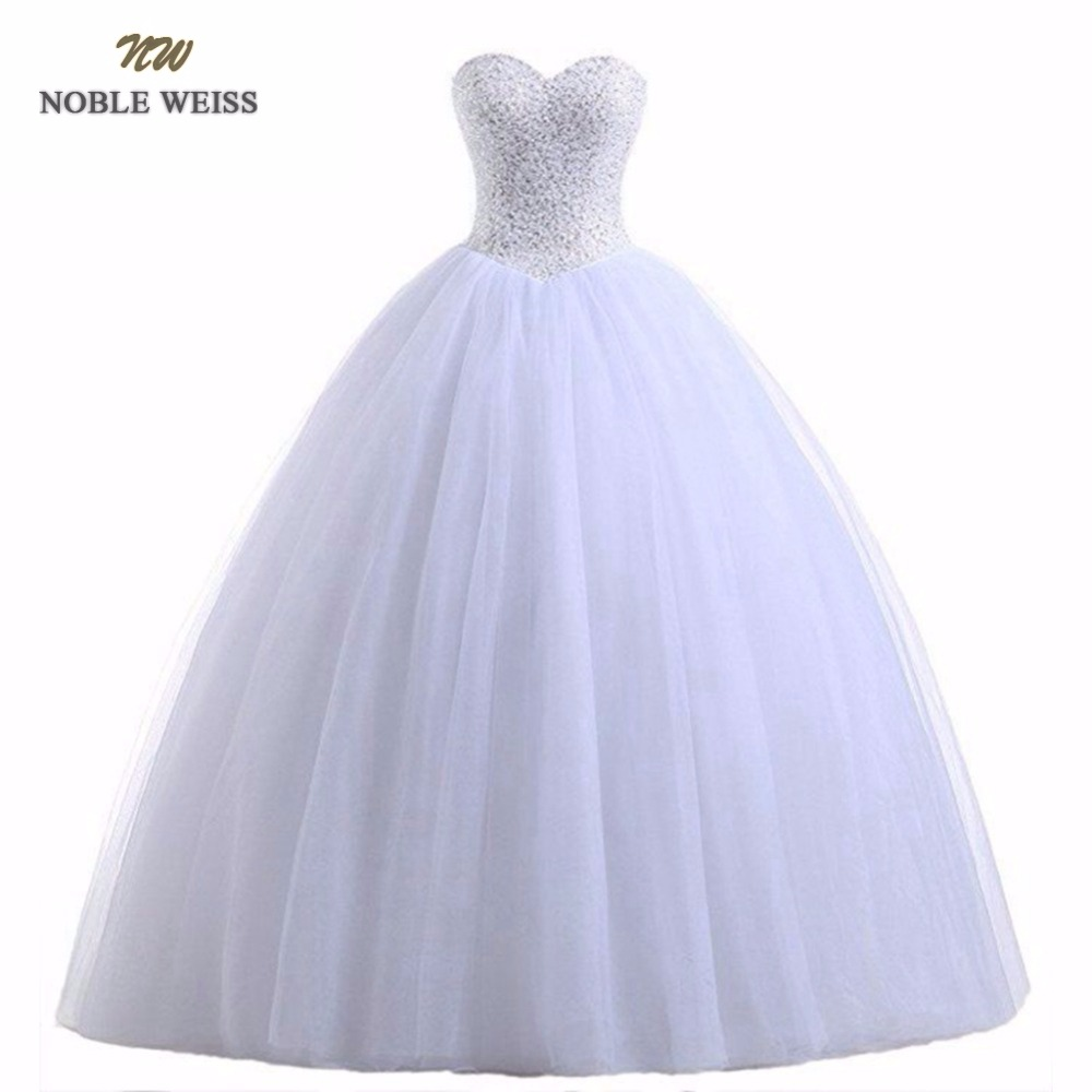 NOBLE WEISS Robe De Mariage Ball Gown White/Ivory Wedding Dresses Princess Luxury Beads Vestido De Noiva Casamento Bride Dress