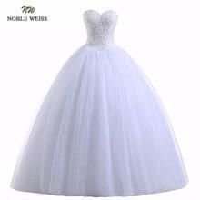 NOBLE WEISS szata De Mariage suknia biała/suknie ślubne w kolorze kości słoniowej księżniczka luksusowe koraliki Vestido De Noiva Casamento suknia dla panny młodej