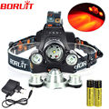Boruit Waterproof Headlamp XML T6+XPE Red 5000 Lumens 4 Mode LED Headlight Rechargeable Hunting Spotlight Lamp Head Light 18650