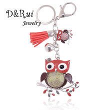 High Quality Owl Key Chain For Women Cute Enamelled Animal Ring Delicate Car Pendant Jewelry Accessories 2019 New Keychain