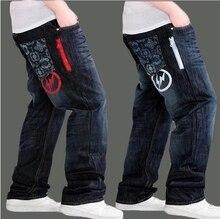 Весной и летом новые широкие ноги джинсы мужчины прямо канистра удобрений плюс размер хип-хоп брюки мужчины свободно джинсы мужчины
