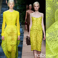 french lace Fabric Import white fluorescent yellow fine car bone / keel lace garment fabric dress shirt stereo stretcha