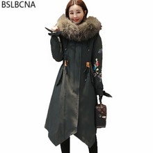 Chinese National Style Clothes Down Cotton Coat Female 2018 Outerwear Winter Jacket Women Vintage Embroidery Parka Femme A466