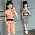 MODA verão menina terno listrado meninas curto t-calça + saias terno de duas peças de roupas para 4-14 anos de idade menina moda conjunto