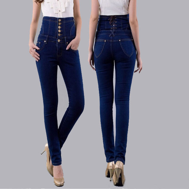 Fashion Vintage Women s Empire Waist Jeans Woman Skinny Super High Waisted  Jeans Lady Slim Stretch Sexy Lace Up Pencil Jean 6xl 6ebb7d876