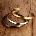 Simple Black Silver/Gold Stainless Steel Cuff Bracelets For Women Men Wedding Party Adjustable Bracelet Love Jewelry BR-0221