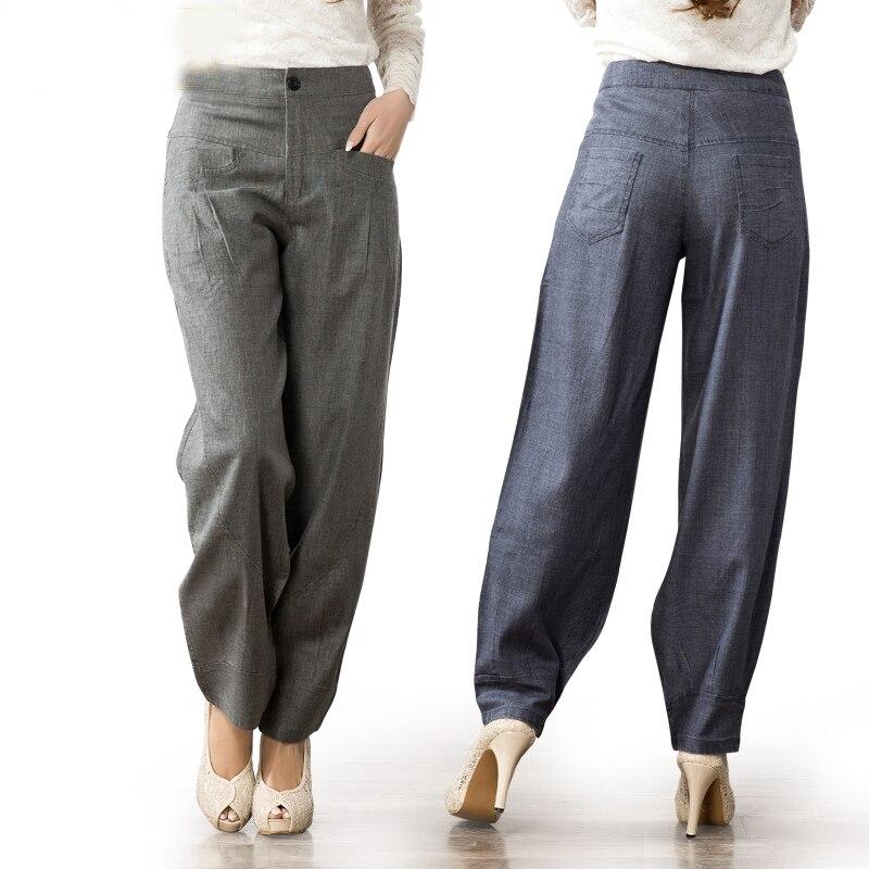 Fashion Plus Size Loose Wide Leg Pants Trousers Women Pantalon Femme Stretchy High Waist Casual Cotton Linen Harem Pants