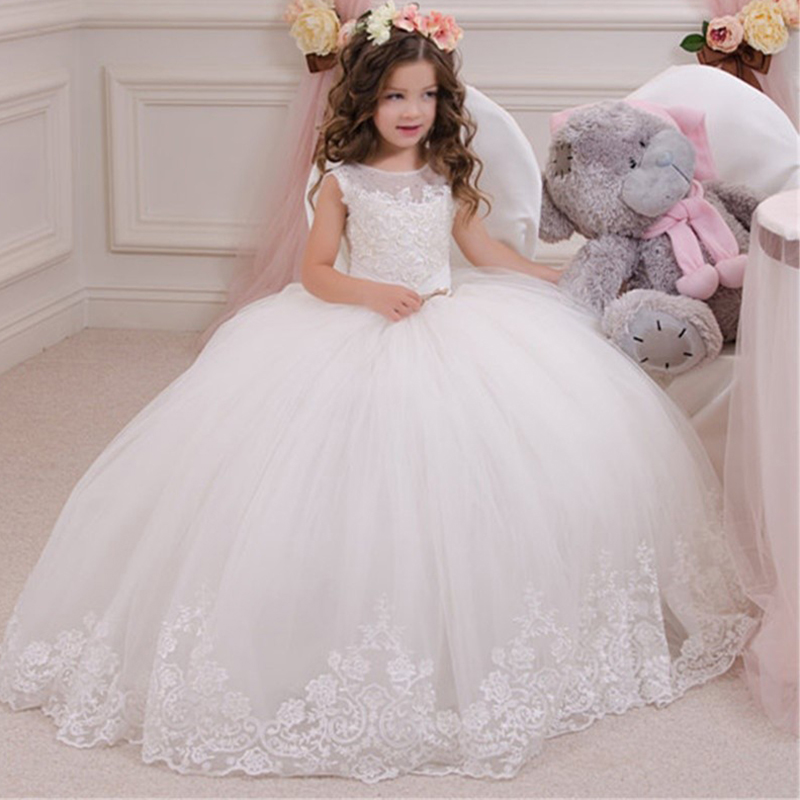 Sheer Neck Beading Lace Ball Gown   Flower     Girl     Dresses   For Wedding Pleats With Bow First Communion Gowns Special Occasion   Dresses