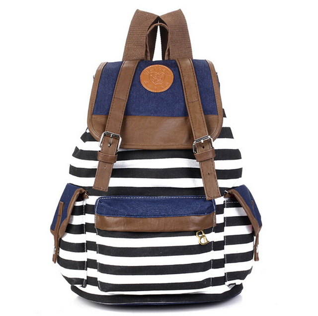 stacy bag hot sale women canvas backpack lady navy striped printing travel  bag student school bag 6105ceb1a4b16