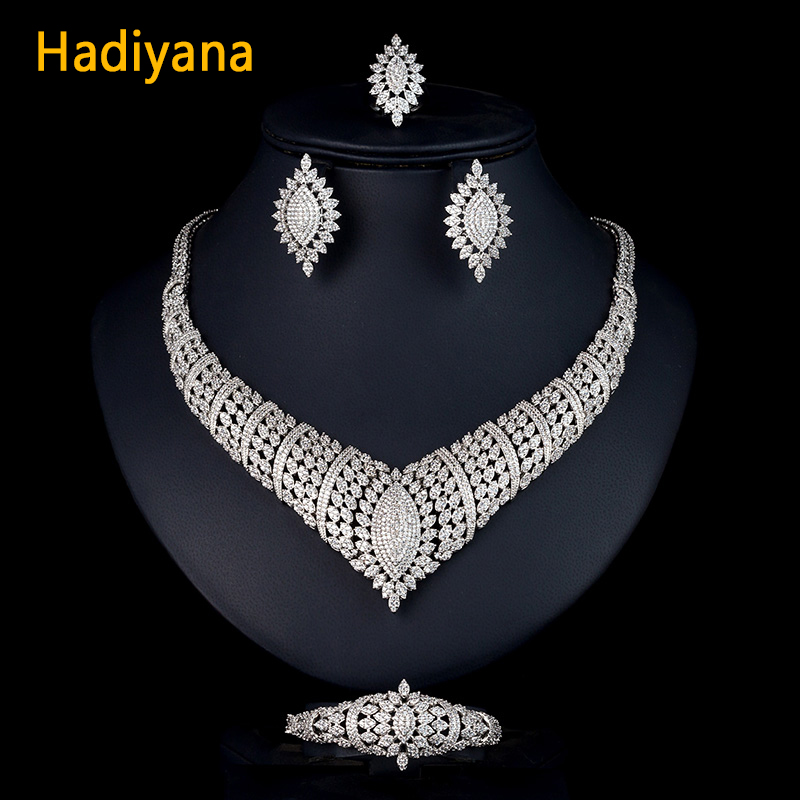 Hadiyana CZ African Jewelry Bridal 4pcs Sets For Women Classic Copper Necklace Earrings Ring Bracelet Sets Wedding Banquet CN770Hadiyana CZ African Jewelry Bridal 4pcs Sets For Women Classic Copper Necklace Earrings Ring Bracelet Sets Wedding Banquet CN770