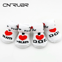 CN-RUBR New Fashion Baby Socks Cartoon Letter Infant Clothing Love Mum Love Dad Boy Girl Socks Anti-slip Newborn Sock Gift