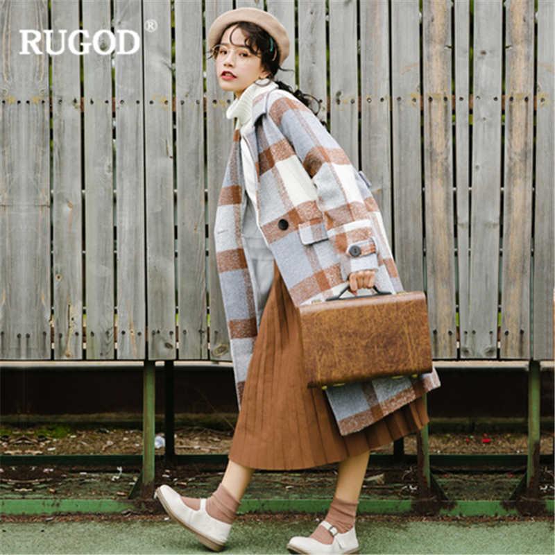 2f20852b1e4 ... RUGOD Новое корейское цветное шерстяное пальто женское зимнее толстое  клетчатое шерстяное пальто женское Туника длинное пальто ...