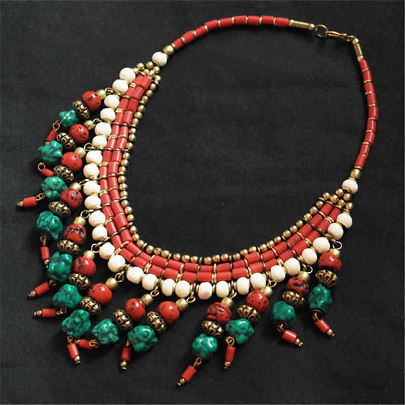 TNL512 Genuine Tibetan jewelry Tibet Artificial Stone Multi Charms Beaded Necklaces from Nepal