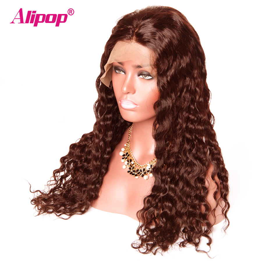 #4 Light Brown 360 Lace Frontal Wig Brazilian Water Wave 180 Density Lace Front Human Hair Wigs ALIPOP Human Hair Wig Remy