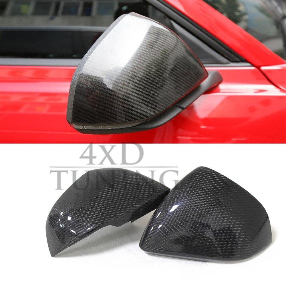 Для Форд Мустанг Евро модель углеродного волокна заднего вида боковое зеркало крышка с тюнингом один свет Добавить на стиль 2015 2016 2017 2014 +