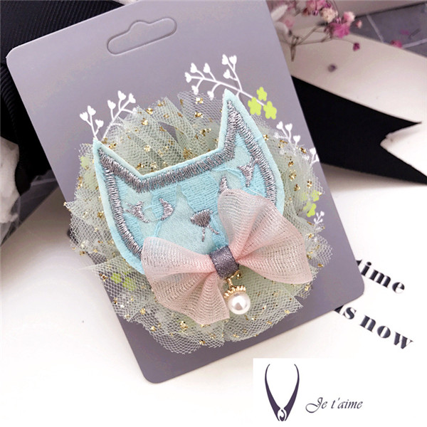 Korea Lace Cat Cartoon Dolls Hair Accessories for Girls Lovely Hair Clip Flower Crown Hairpin Barrettes Hairgrips in Hair Accessories from Mother Kids