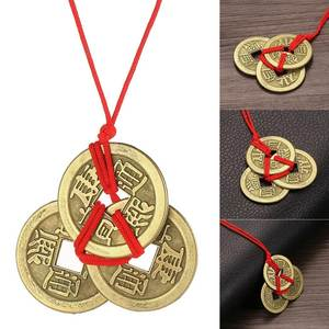 FANALA 3PCS Amulet Coins Chain Pendant Jewelry Lucky Brass