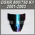 Light iridium Magic color Windshield / Windscreen Double Bubble For Suzuki GSXR 600/750 K1 2001 2002 2003
