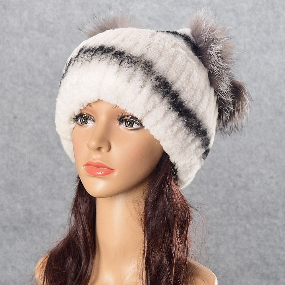 MJ-Young Shine Pom Poms Winter Hats for Women Solid Warm Hats Knitted Beanies Thick Female Cap