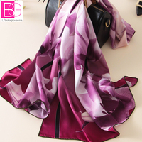 100% Pure Silk Women Wrap Scarves Thermal Print Floral Elegant Female Thin Scarves Brown, Purple, Blue Good Christmas Gifts