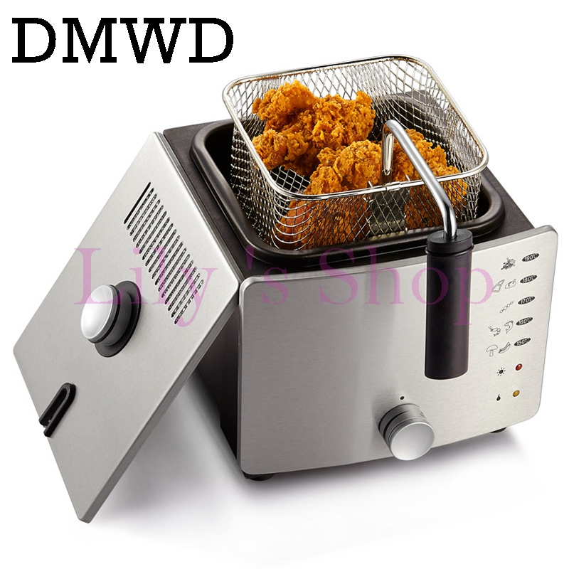DMWD Stainless Steel Single tank Electrical deep fryer smokeless French Fries Chicken grill multifunction MINI hotpot oven EU US 220v 2 6l electric deep fryer household air fryer oil free and smokeless intelligent french fries machine