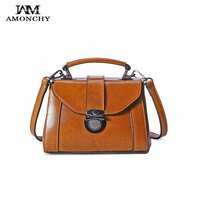 Summer 2017 Ladies Genuine Leather Handbags Oil Wax Cow Leather Women Shoulder Bags Elegant Female Messenger
